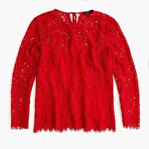 J. Crew Lace Top Built-In Cami Holiday Red 6 NWT